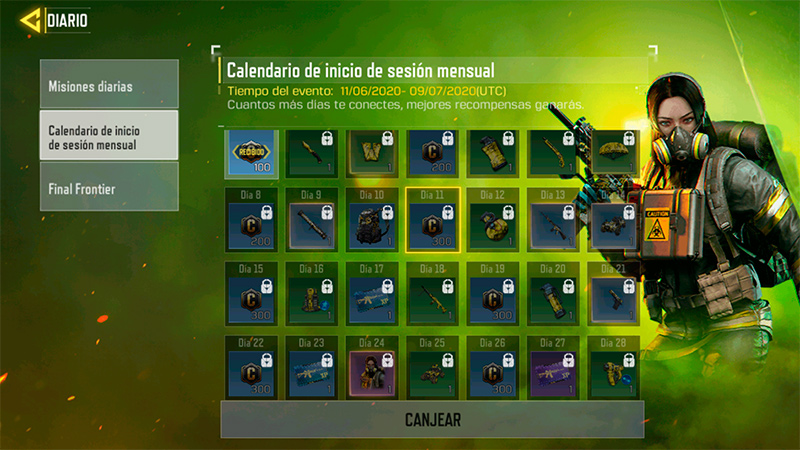 Calendario mensual en Call of Duty mobile