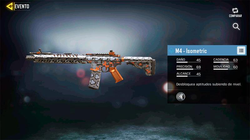 Arma M4 Isometric del evento Brazo Cohete de Call of Duty Mobile