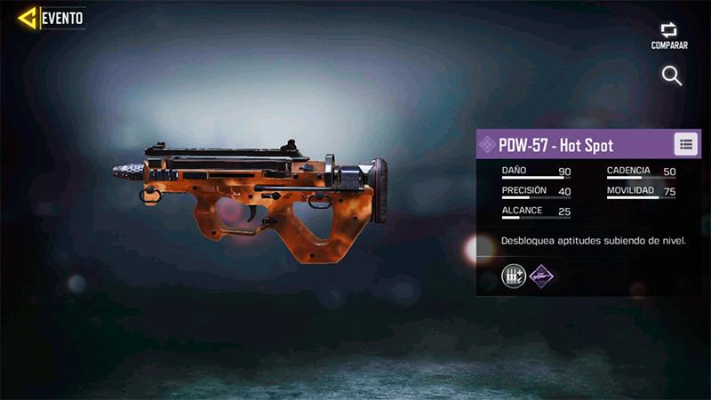 Arma PDW-57 Hot Spot de Call of Duty Mobile