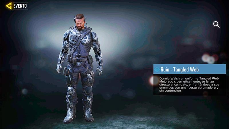 Personaje Ruin Tangled Web en Completa las tareas del evento de temporada Brazo Cohete y llévate gratis el arma M4 Isometric en Call of Duty Mobile