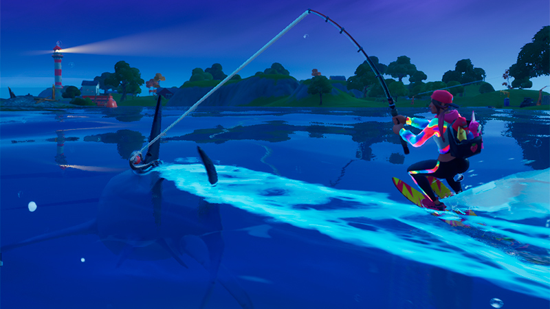 Subir a un tiburón con una caña en Fortnite