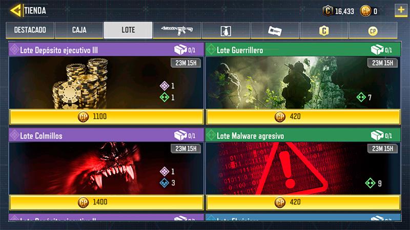 Lotes Depósito ejecutivo 3 y Guerrillero en Call of Duty Mobile