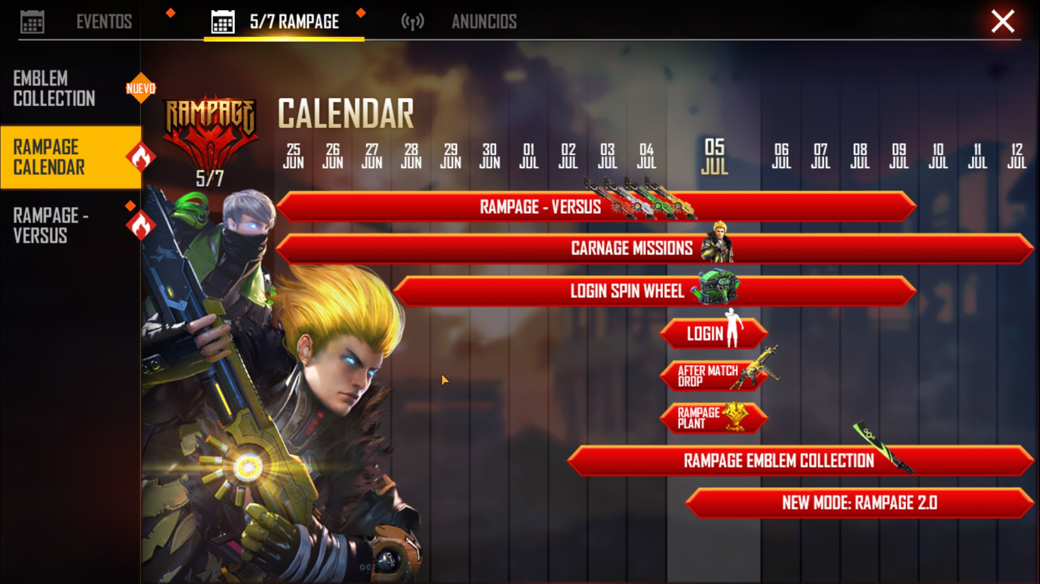 free fire calendario del evento revolución.