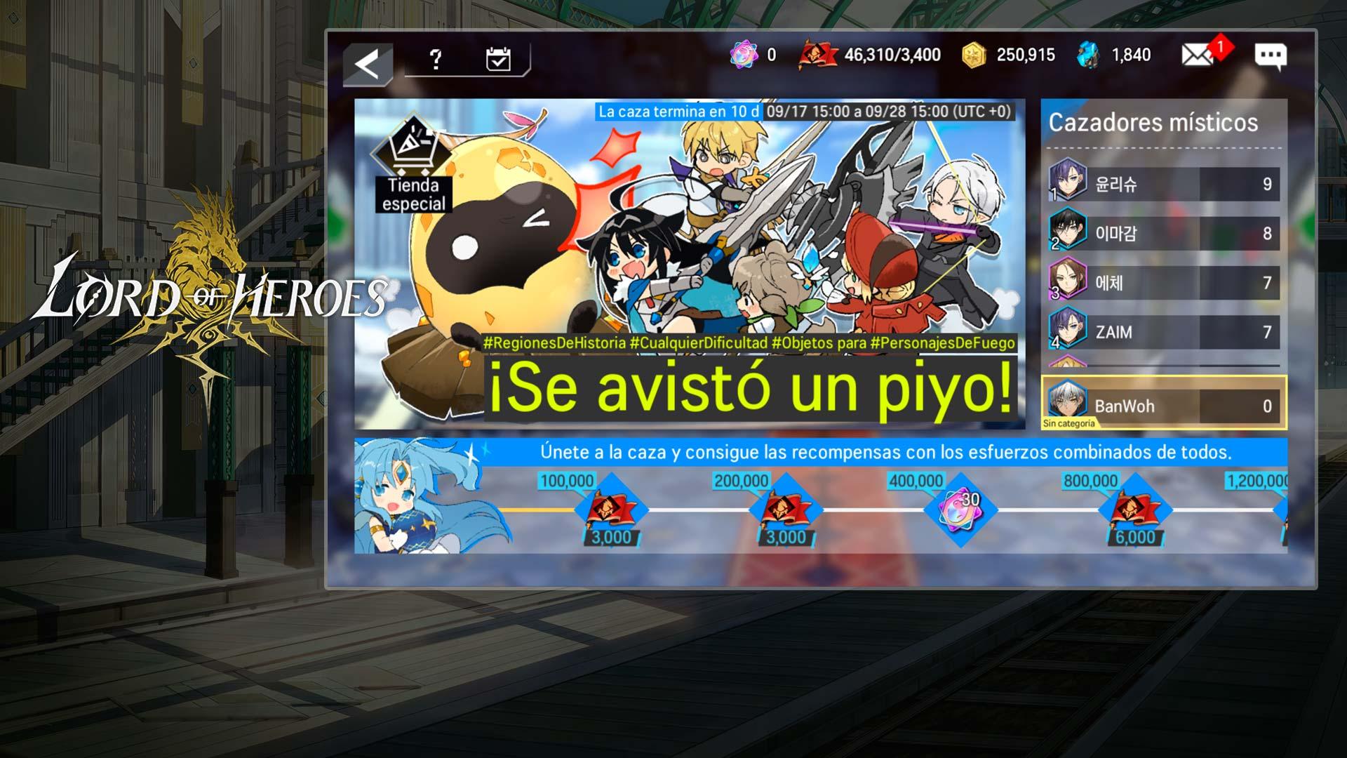 Evento Caza de bestia mística en Lord of Heroes