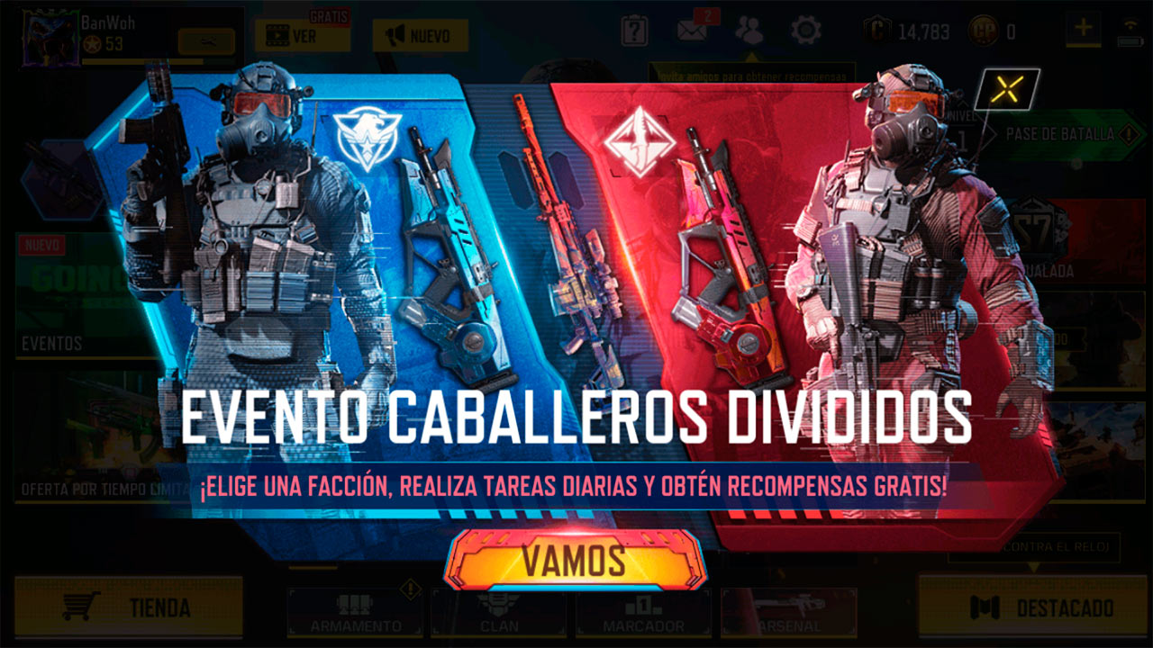 Evento Caballeros Divididos en Call of Duty Mobile