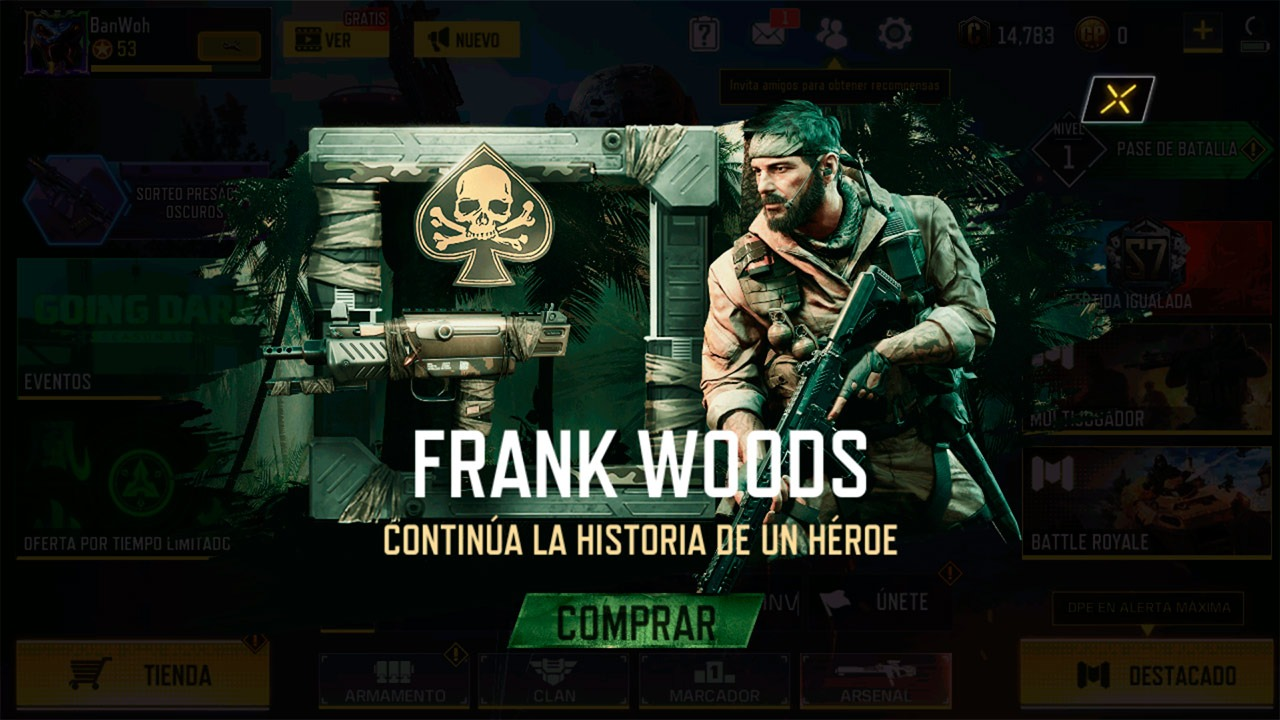Lote Frank Woods en Call of Duty Mobile
