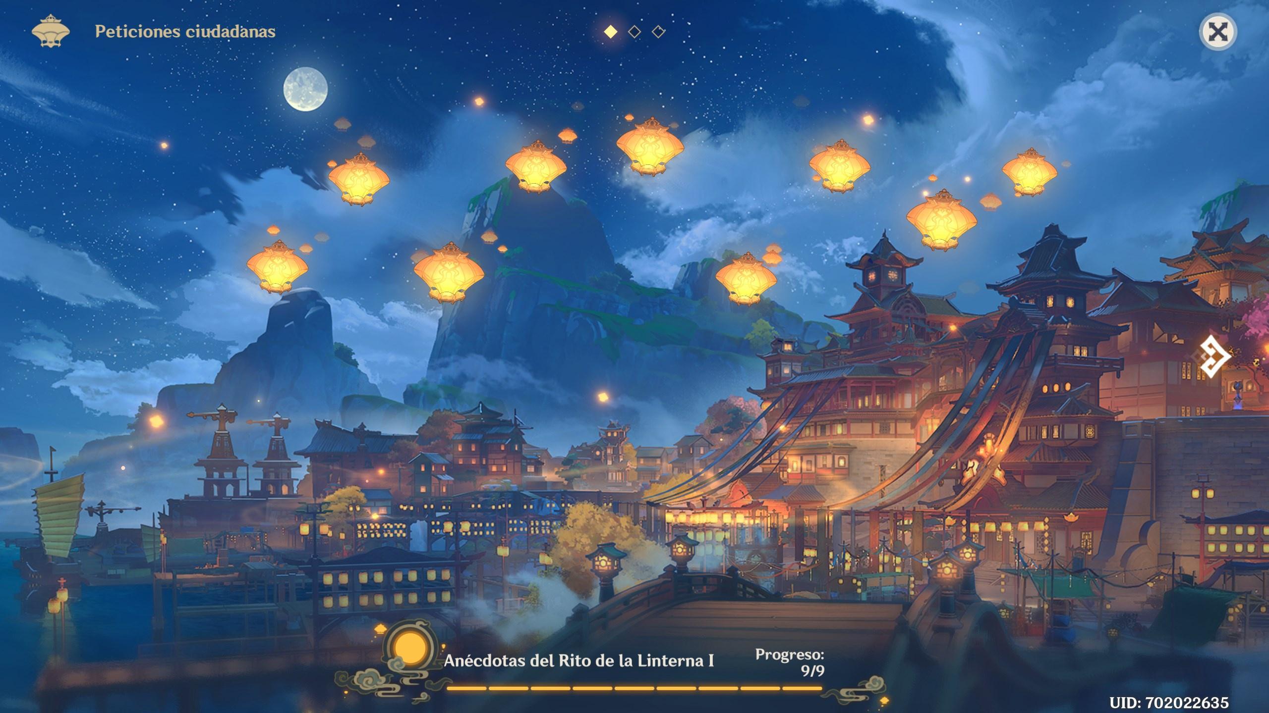 genshin impact evento rito de la linterna I anécdotas completadas