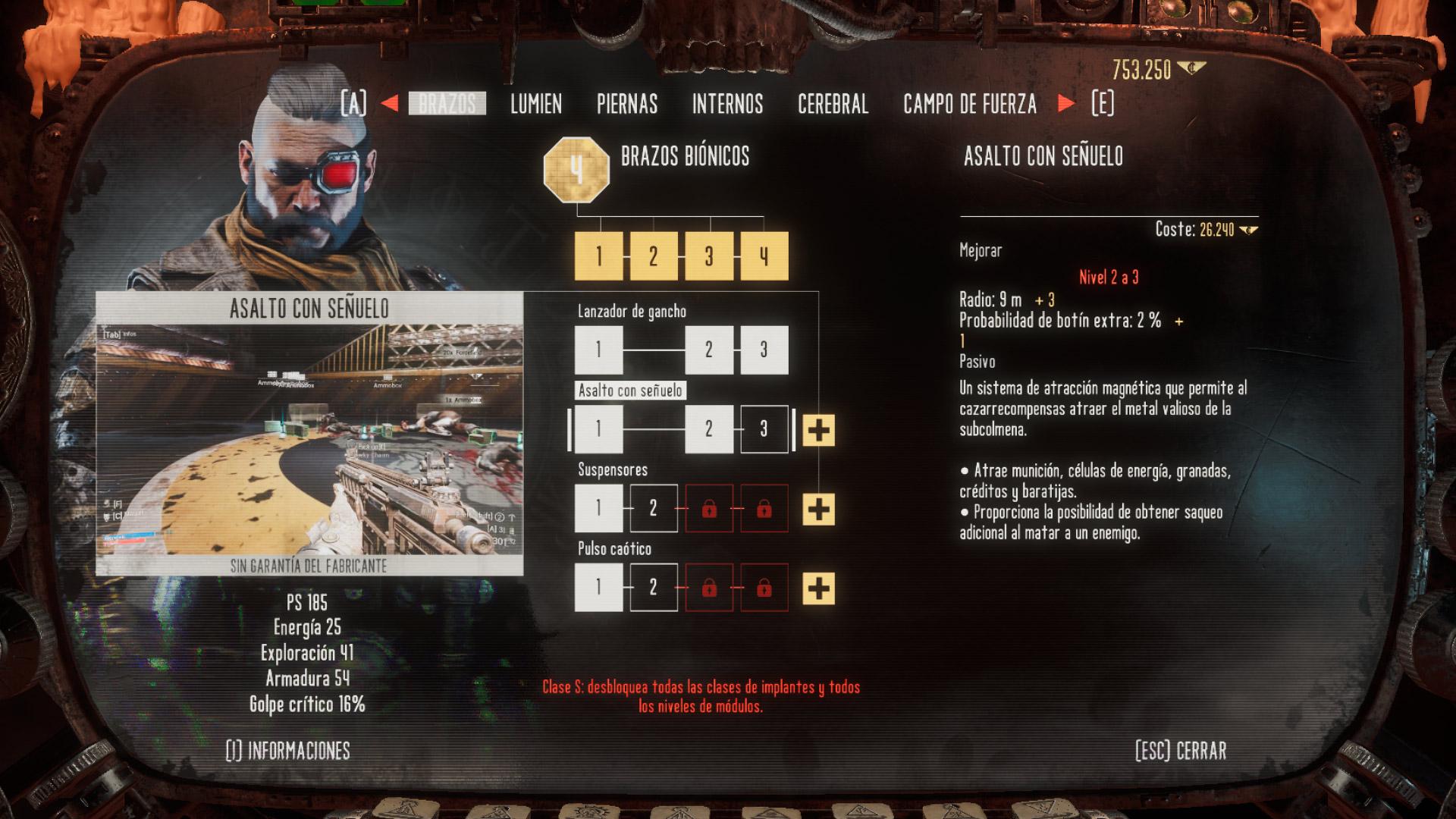 Aumentos y módulos en Necromunda: Hired Gun