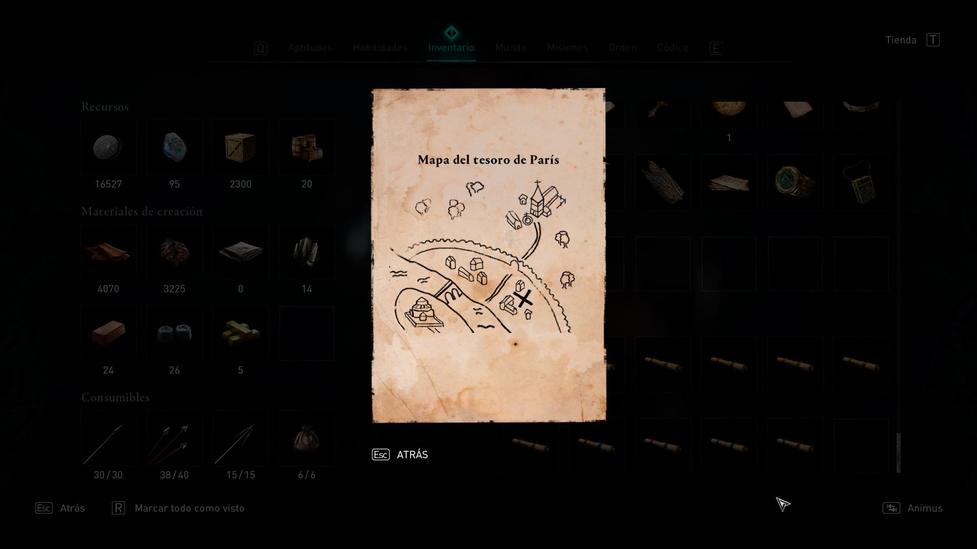 Mapa del tesoro de París en Assassin's Creed Valhalla